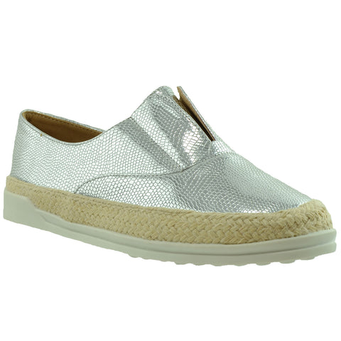 Womens Flat Shoes Snake Print Espadrilles Slip On Sneakers SILVER