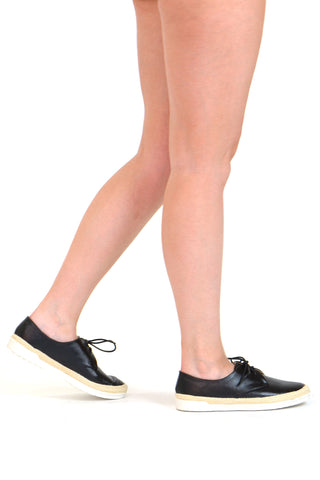 Womens Flat Shoes Perforated Lace Up Espadrilles Closed Toe Sneaker Black