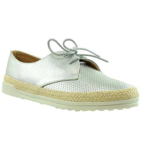 Womens Flat Shoes Perforated Lace Up Espadrilles Closed Toe Sneaker SILVER