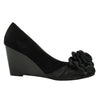 Womens Platform Shoes Suede Flower Rosette Wedge High Heel Shoes black