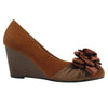 Womens Platform Shoes Suede Flower Rosette Wedge High Heel Shoes Brown