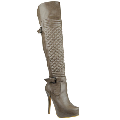 Womens Knee High Boots Quilted Front Buckle Accent Sexy High Heels Taupe