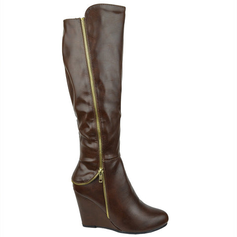 Womens Knee High Boots Faux Zipper Accent High Wedge Shoes Cognac