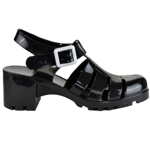 da4ffb7ee7f Womens Platform Sandals Jelly Strappy Low Heel Casual Shoes black