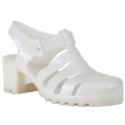 Womens Platform Sandals Jelly Strappy Low Heel Casual Shoes White