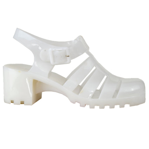 7367a732488 Womens Platform Sandals Jelly Strappy Low Heel Casual Shoes White