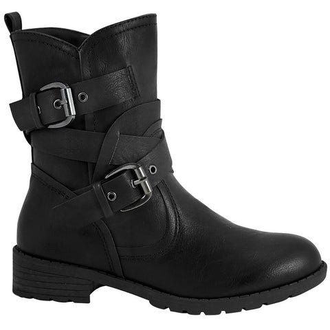 Womens Ankle Boots Wrap Around  Buckle Strap Motorcycle Riding Shoes Black