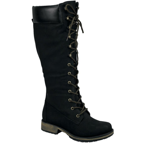 Womens Knee High Boots Combat Two Tone Lace Up Shoes Black
