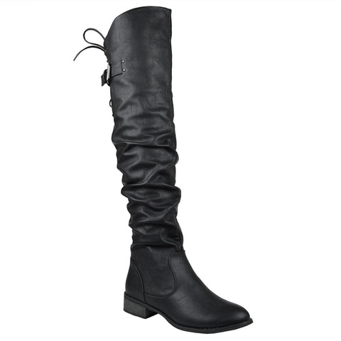 Womens Knee High Boots Back Lace Up Over The Knee Riding Shoes Black