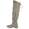 Womens Knee High Boots Back Lace Up Over The Knee Riding Shoes Taupe