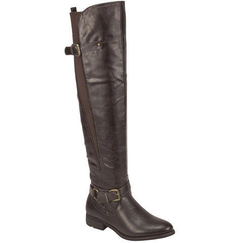 Womens Knee High Boots Elastic and Buckle Accent Casual Riding Shoes Tan