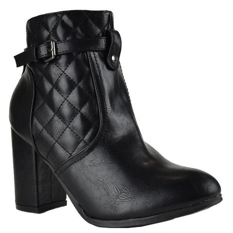 Womens Ankle Boots Sleek Quilted Ankle Strap Chunky High Heel Shoes Black