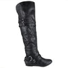 Womens Knee High Boots Fold Over Cuff Buckle Accents Casual Riding Shoes Black