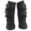 Kids Mid Calf Boots Ruched Knitted Buckle Straps black