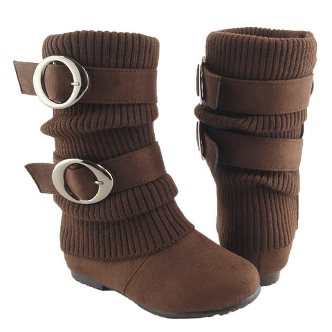 Kids Mid Calf Boots Ruched Knitted Buckle Straps Brown