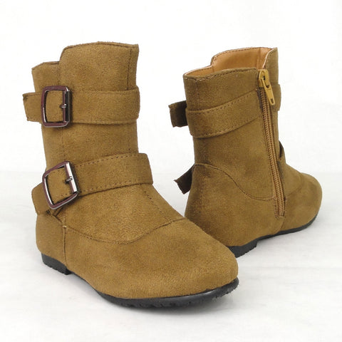 Kids Ankle Boots Suede Double Buckle Side Zipper Closure Tan