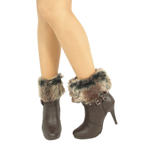 Womens Ankle Boots Faux Fur Foldover Cuff High Heels Brown