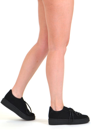 Womens Platform Shoes Lace Up Sneakers Flatform Suede Shoes Black