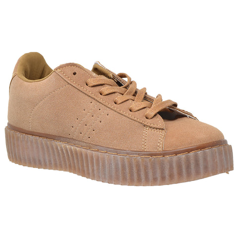 Womens Platform Shoes Lace Up Sneakers Flatform Suede Shoes Tan