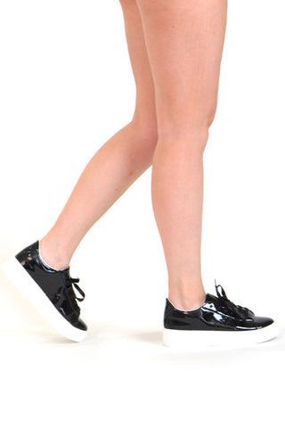 Womens Platform Shoes Lace Up Sneakers Flatform Patent Shoes Black