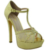 Womens Dress Shoes T Strap Rhinestone Embellished Mesh Glitter Platform Heel Gold