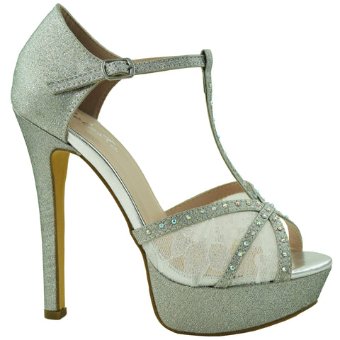Womens Dress Shoes T Strap Rhinestone Embellished Mesh Glitter Platform Heel Silver