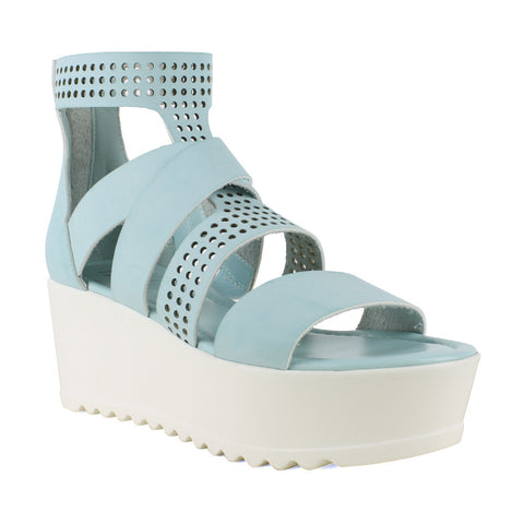 Womens Platform Sandals Strappy Buckle Accent Platform Shoes Blue