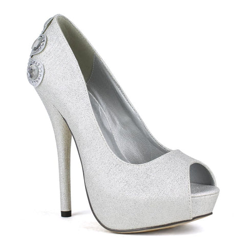Womens Platform Shoes Rhinestone Embellishments Peep Toe Pumps Silver