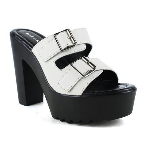 Womens Platform Sandals Buckle Accent Platform Shoes White
