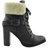 Womens Ankle Boots Lace Up Chunky Heel Fold Over Fleece Cuff Black