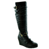 Womens Knee High Boots Faux Leather Buckle Straps Wedge Heel Shoes black