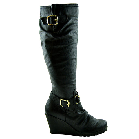 14138d07e0a Womens Knee High Boots Faux Leather Buckle Straps Wedge Heel Shoes black