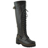 Womens Lace Up Combat Knee High Boots Black