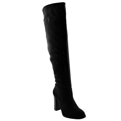 Womens Knee High Boots Faux Suede High Heel Zip Close Shoes black