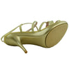 Womens Dress Shoes Strappy Front with Rhinestones Slingback Buckle Open Toe Gold