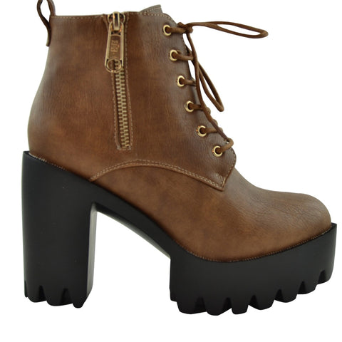 Womens Ankle Boots Chunky Heel Lace Up Platform Lug Shoes Tan