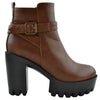 Womens Ankle Boots Lug Sole Chunky Heel Buckle Casual Shoes Tan