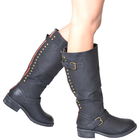 Womens Mid Calf Boots Ankle and Calf Buckle Back Studded and Zipper Black
