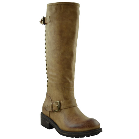 Womens Mid Calf Boots Ankle and Calf Buckle Back Studded and Zipper Tan