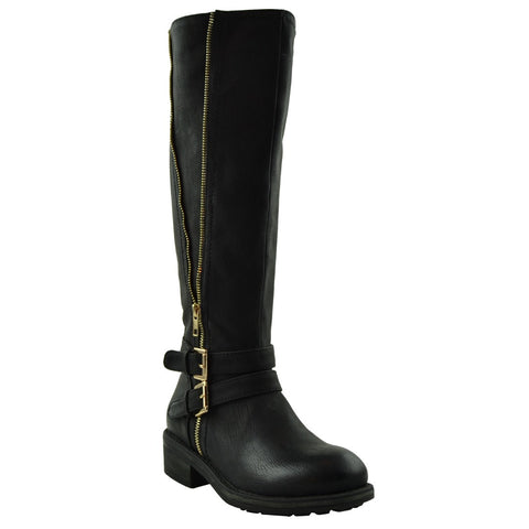 Womens Knee High Boots Double Adjustable Ankle Straps Casual Comfort Shoes Black