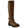 Womens Mid Calf Boots Double Adjustable Ankle Straps Casual Comfort Shoes Tan