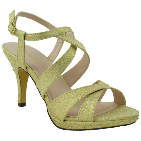 Womens Dress Shoes Sparkly Crisscrossed Straps High Heel Sandals Gold