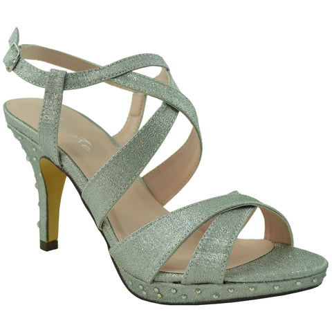 Womens Dress Shoes Sparkly Crisscrossed Straps High Heel Sandals Silver