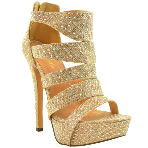 Womens Dress Shoes Rhinestone Embellishments Cutout Platform Champagne