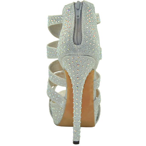 Womens Dress Shoes Rhinestone Embellishments Cutout Platform Silver