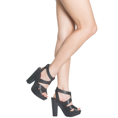 Womens Platform Sandals Strappy Buckle Accent Platform Shoes black