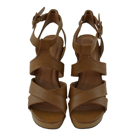 Womens Platform Sandals Strappy Buckle Accent Platform Shoes Tan