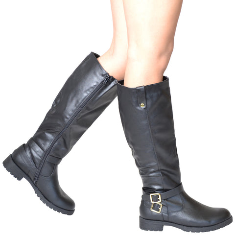 Womens Knee High Boots w/ Gold Buckle Accent Black