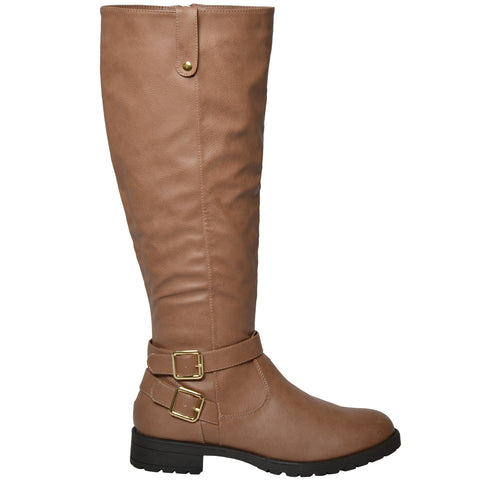 Womens Knee High Boots w/ Gold Buckle Accent Camel