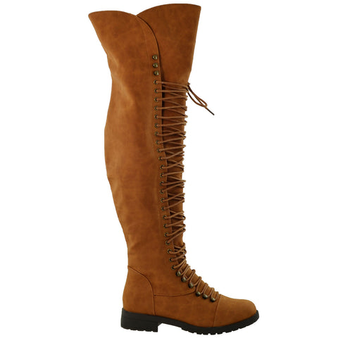 Womens Knee High Boots Lace Up Combat Casual Shoes Tan